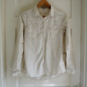 Toad&Co Cream Plaid Tab Sleeve Travel Shirt  XS